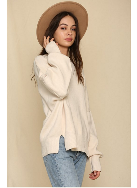 by-together Oversized Crew Neck Knit Sweater