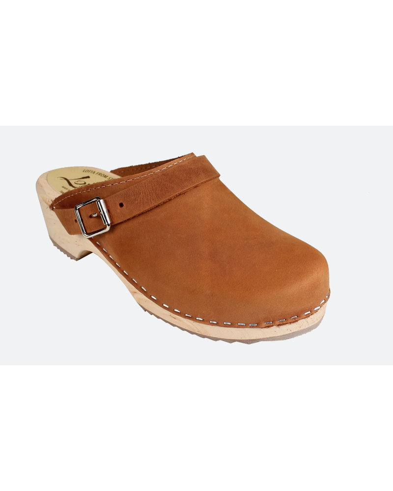 Lotta Classic Brown Oiled Nubuck Clog with Strap