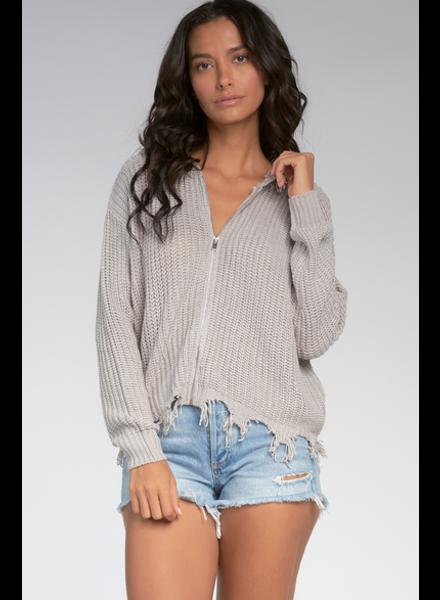 Elan Distressed Zip Up Knitted Hoodie