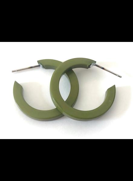 Leetie Lovendale Olive Green Mini Thread Hoop Earrings