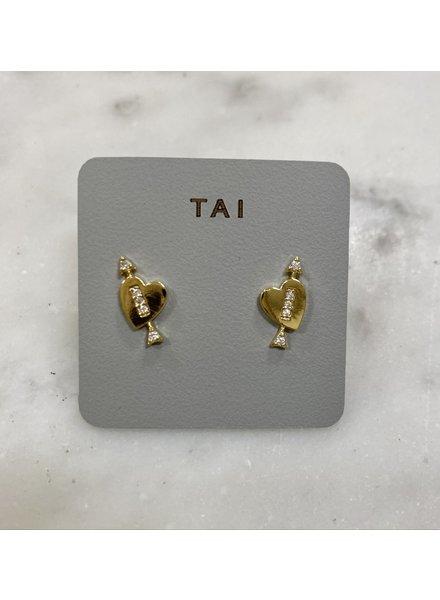 Tai Gold Heart & Arrow Stud Earrings