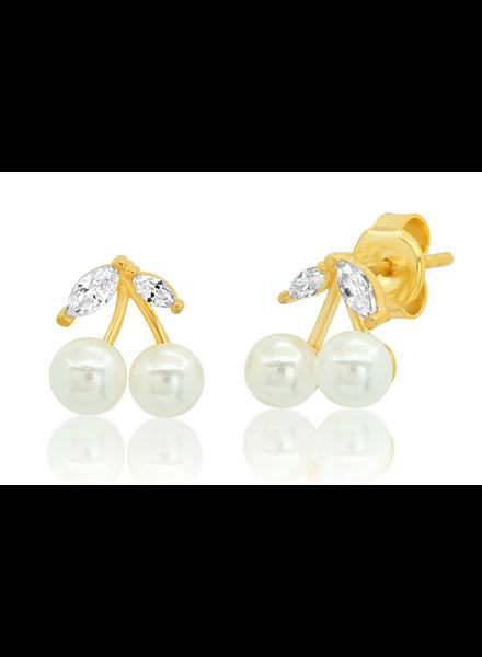 Tai Pearl and CZ Cherry Stud Earrings