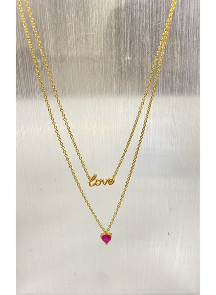 Tai Layered Love and Red Heart Necklace