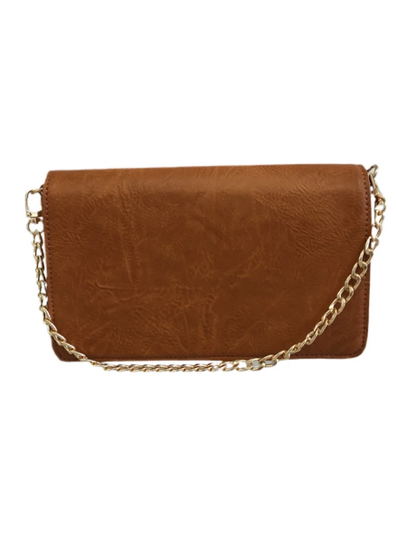 Ahdorned Small Vegan Leather Flap Bag with Gold Chain
