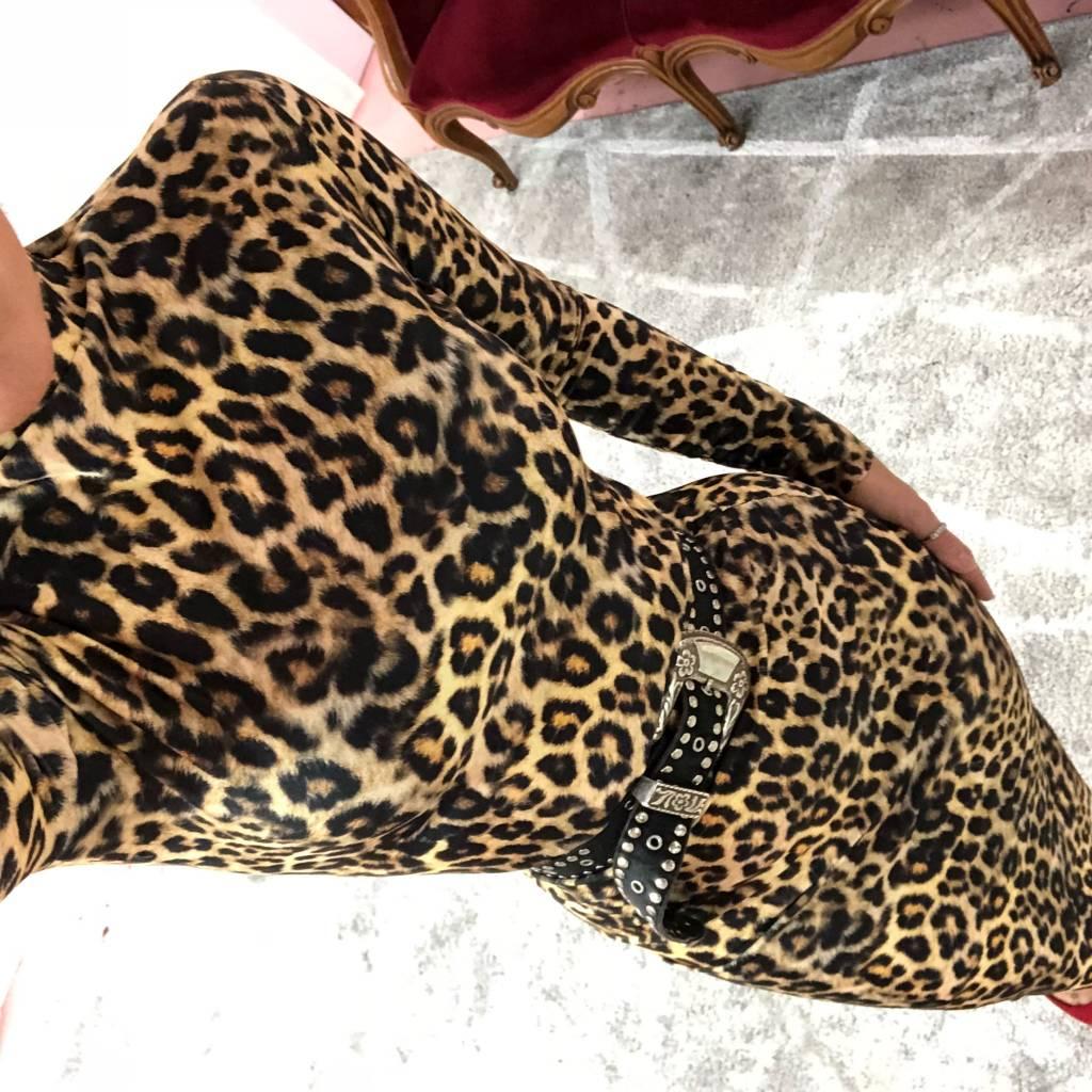 Turtleneck Pencil Dress - Leopard Print