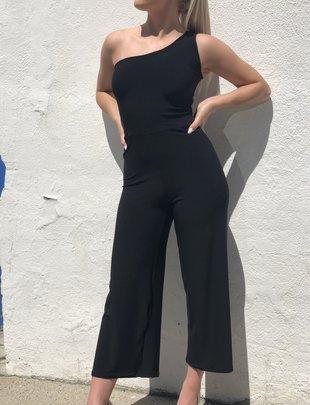 Sooley Designs One Shoulder Jumpsuit - Black Barcelona