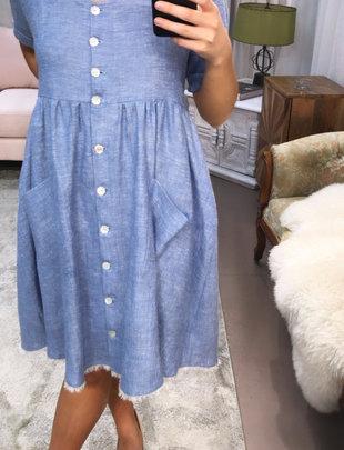 Sooley Designs Blue Linen Dress