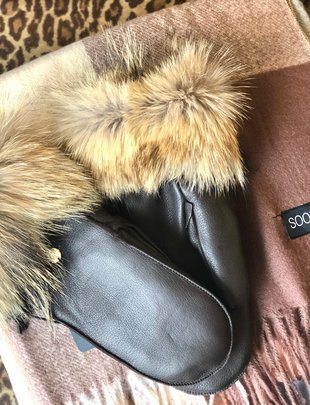 Sooley Designs Leather Mittens with Fur Trim