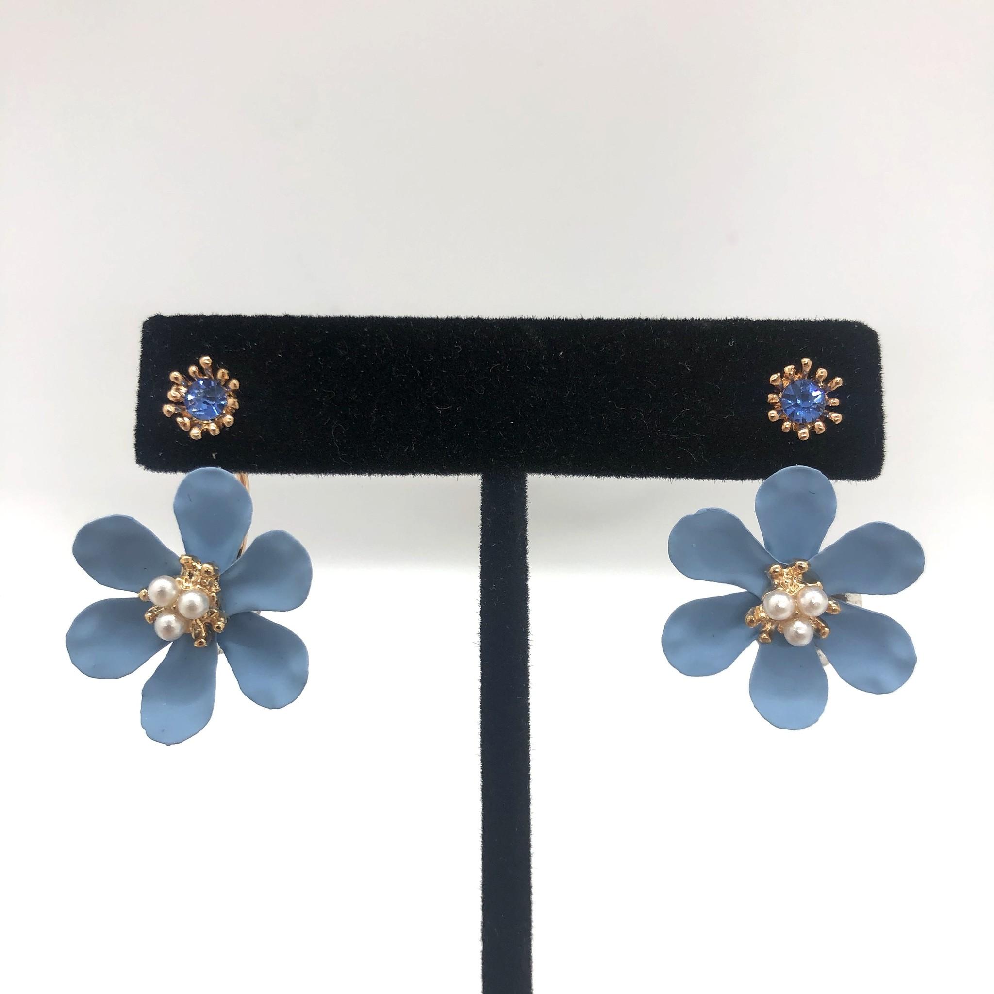 Sooley Designs Gem and Pearl Drop Back Flower Earrings