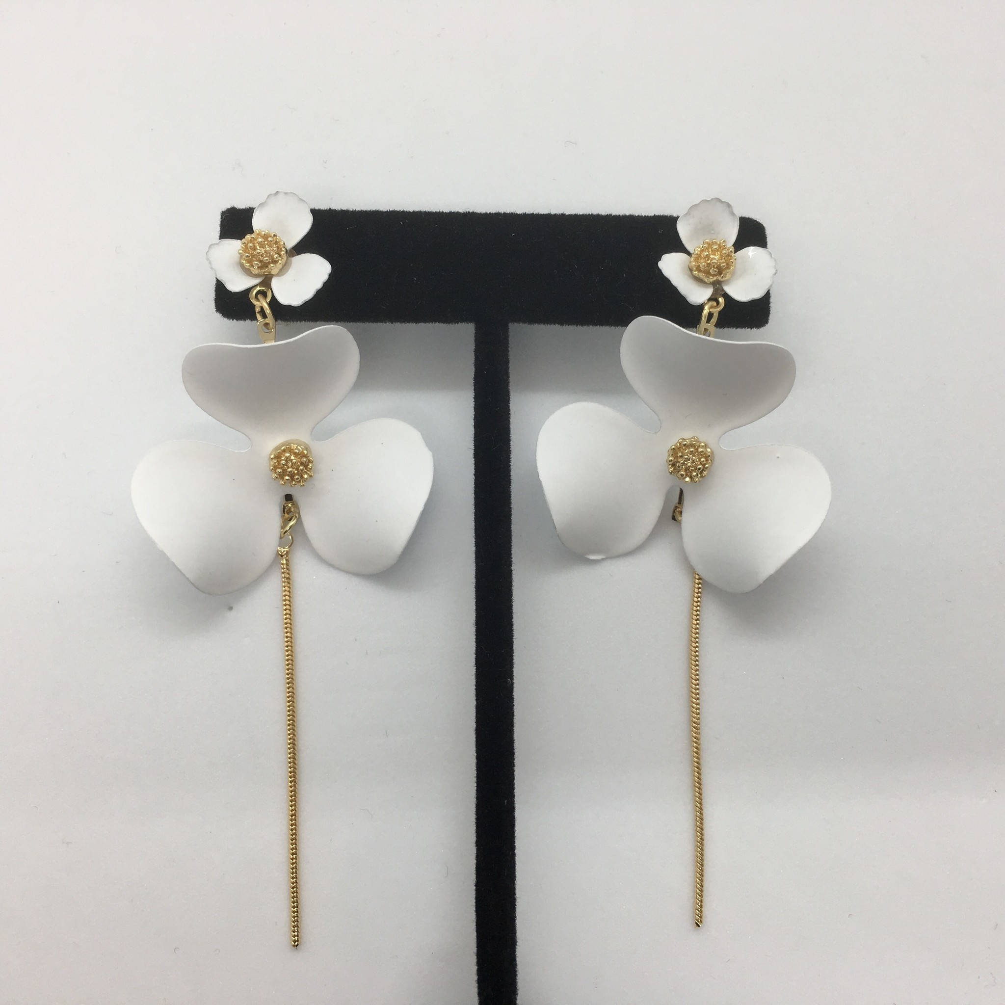 Sooley Designs Double Floral Chain Earrings
