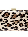 Leopard Print Hard Case Clutch Bag