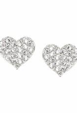 Rhinestone Heart Stud Earrings
