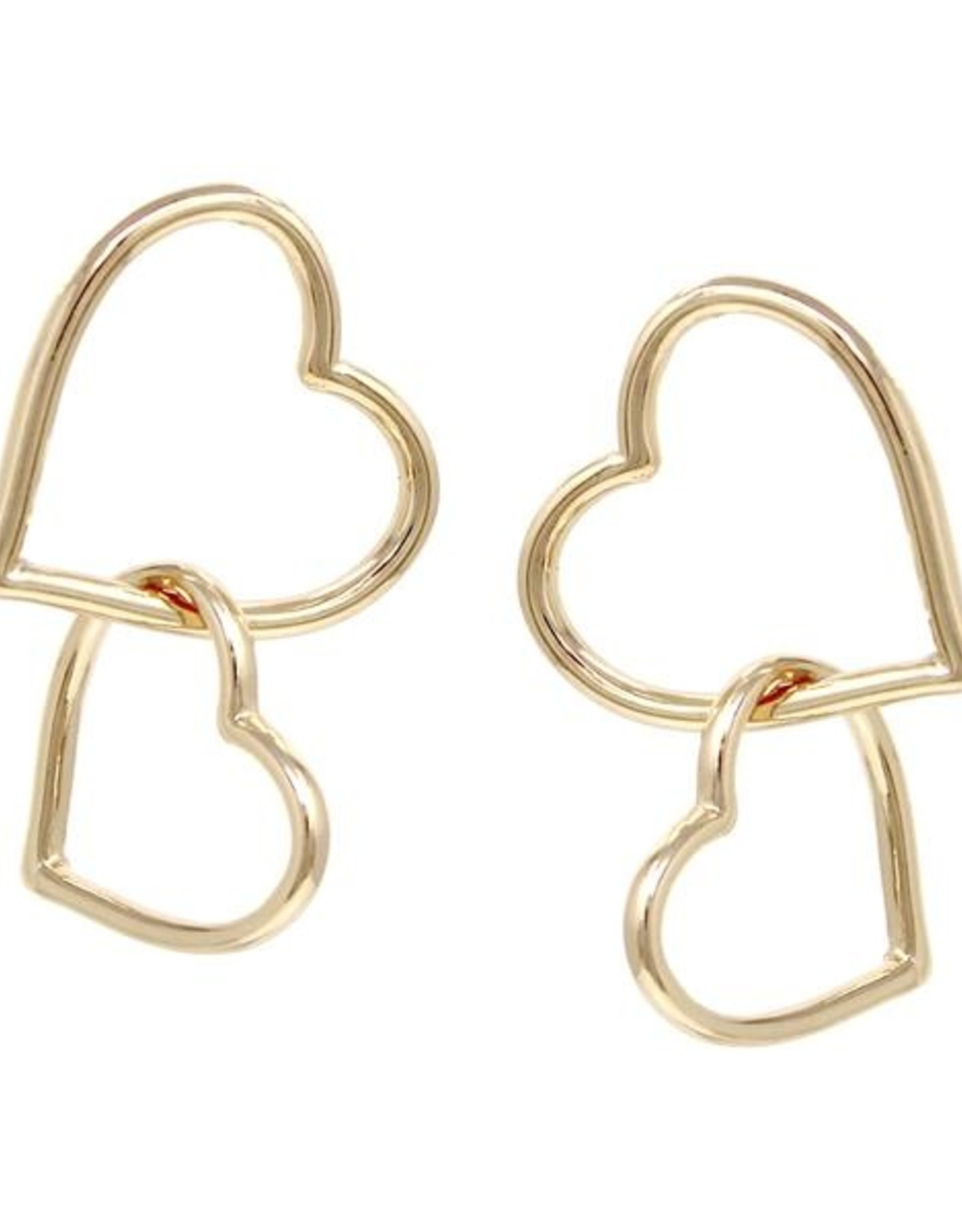 Double Heart Linked Drop Earrings - Matte Gold