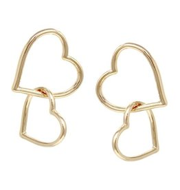 Double Heart Linked Drop Earrings - Matte Gold