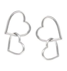 Double Heart Linked Drop Earrings - Silver