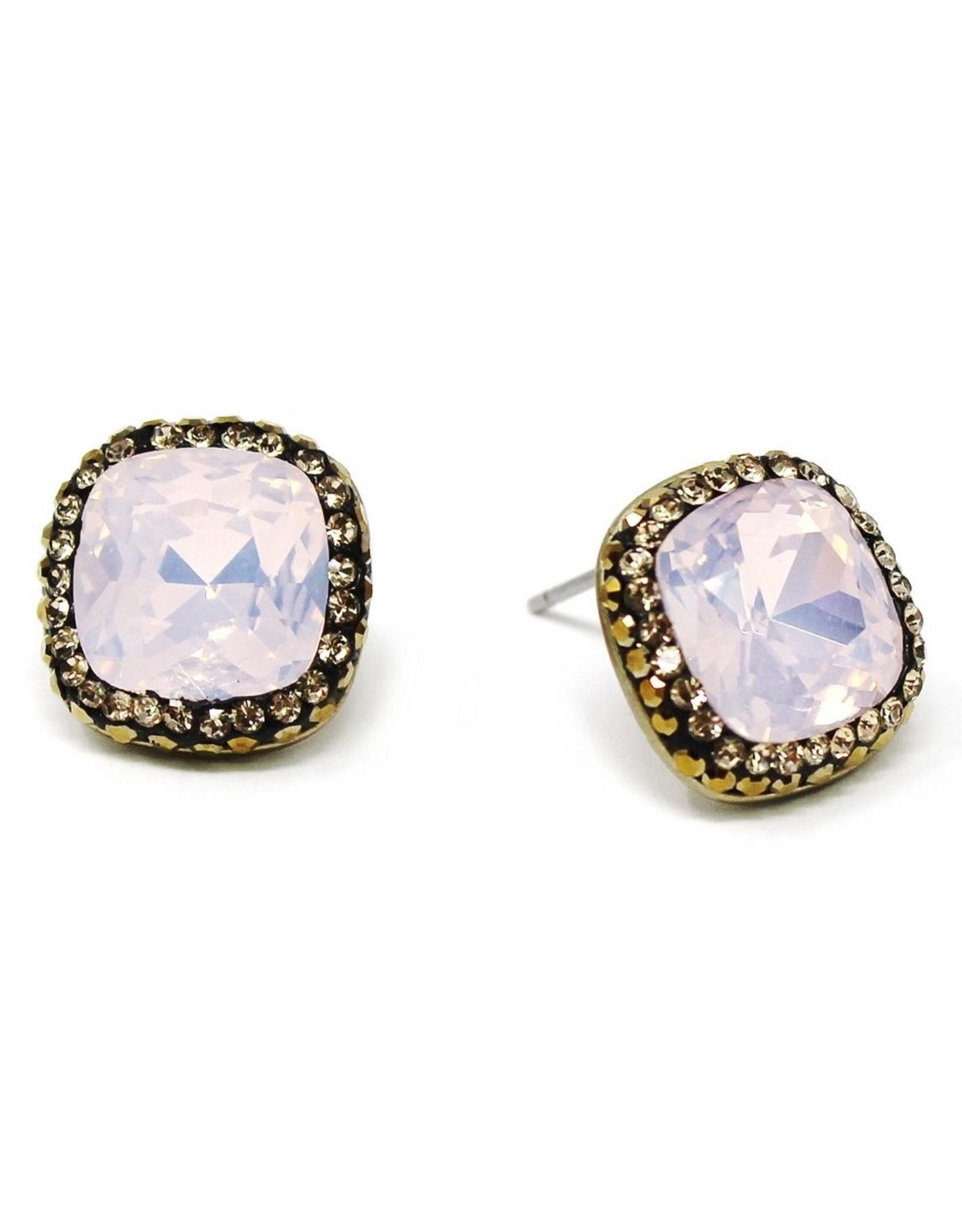 Square Glass Stone Stud Earrings -