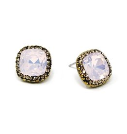 Square Glass Stone Stud Earrings