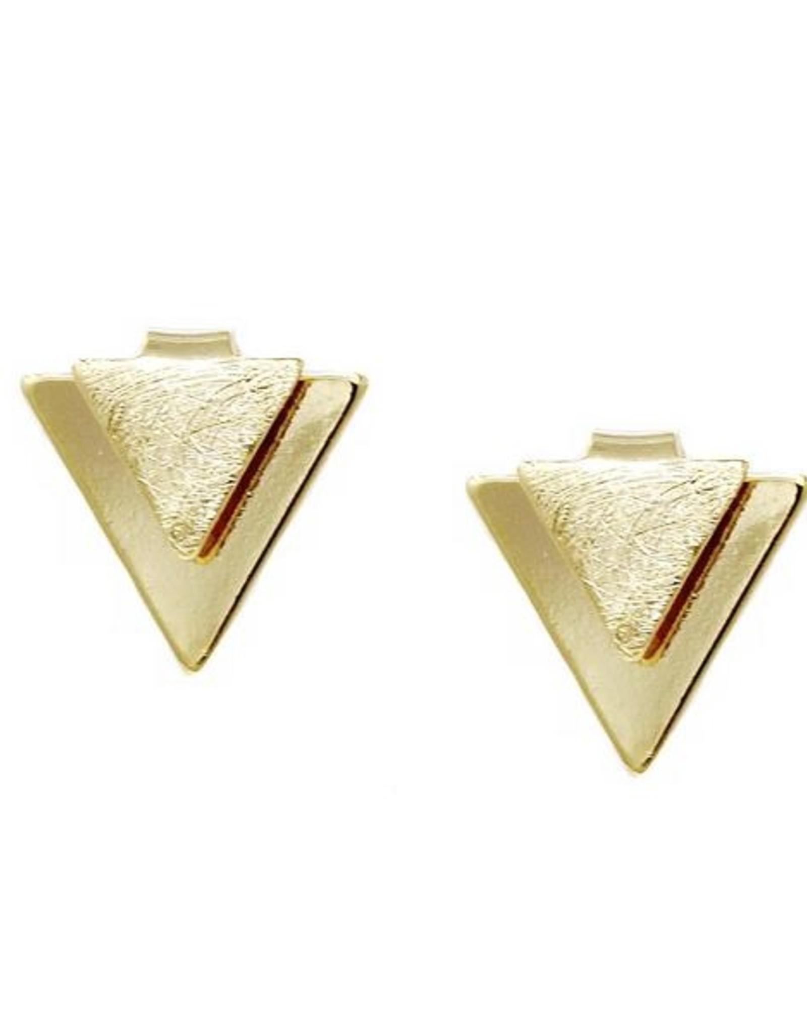 Double Triangle Metal Stud Earrings