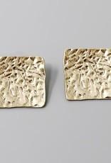 Textured Metal Square Stud Earrings
