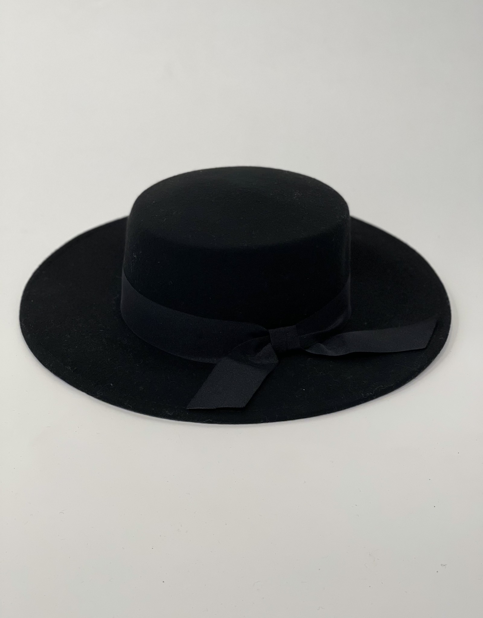 Wide Brim Hat with Bow - Black