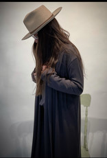 Wide Brim Hat - Tan with brown bow