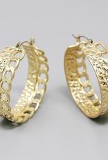 Hammered Metal Linked Chain Hoop Earrings -
