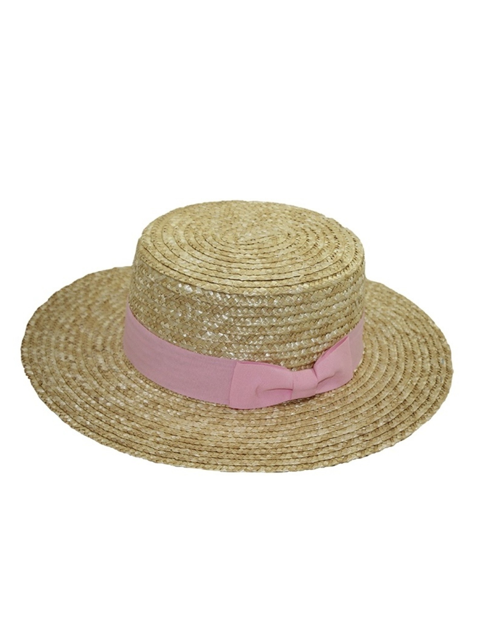 Straw Hat with Pink Bow