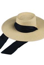 Wide Straw Hat with Black Tie