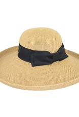 Cuved Straw Hat with Black Bow