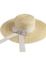 Wide Brim Straw Hat with Beige Bow
