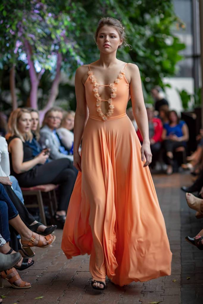 Sooley Designs Deep V Gown w. Floral Detail - Tangerine