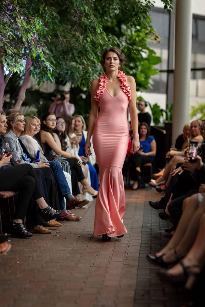 Sooley Designs Ruffle Halter Gown (Custom Coral)