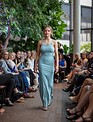 Mermaid Gown with Floral Appliqué Bahama Blue