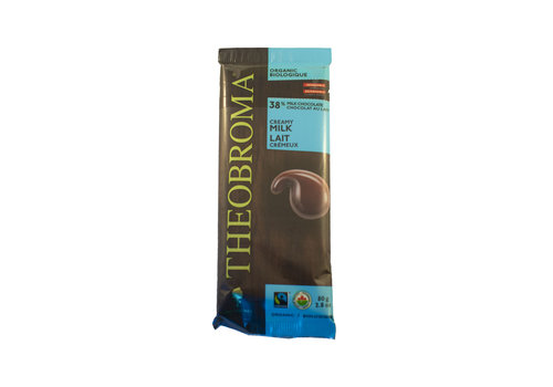 Theobroma Chocolat au lait bio sans gluten 38% 80g