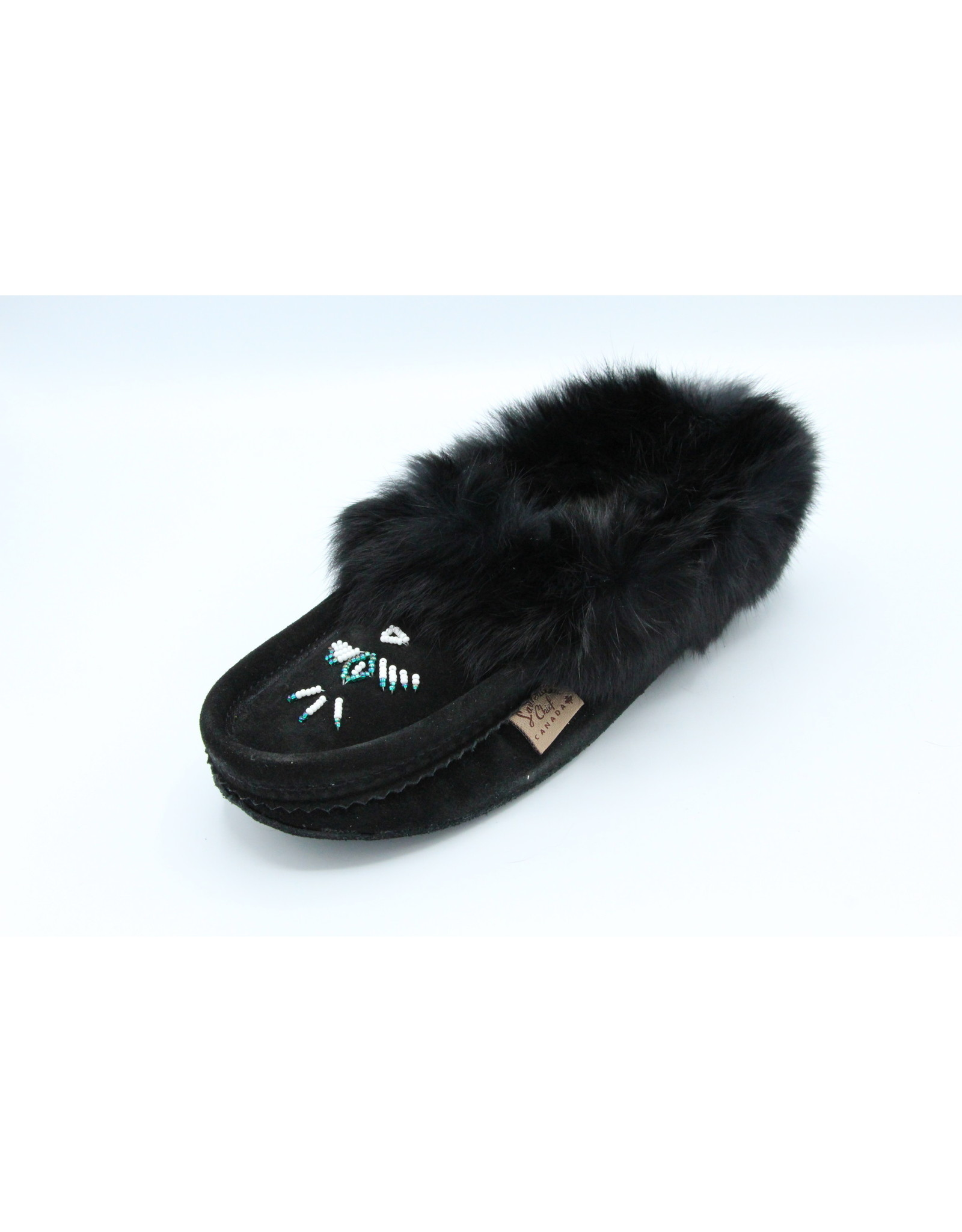 Black Suede Fur Slipper Moccasin - 653L
