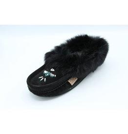 Black Suede Fur Slipper Moccasin