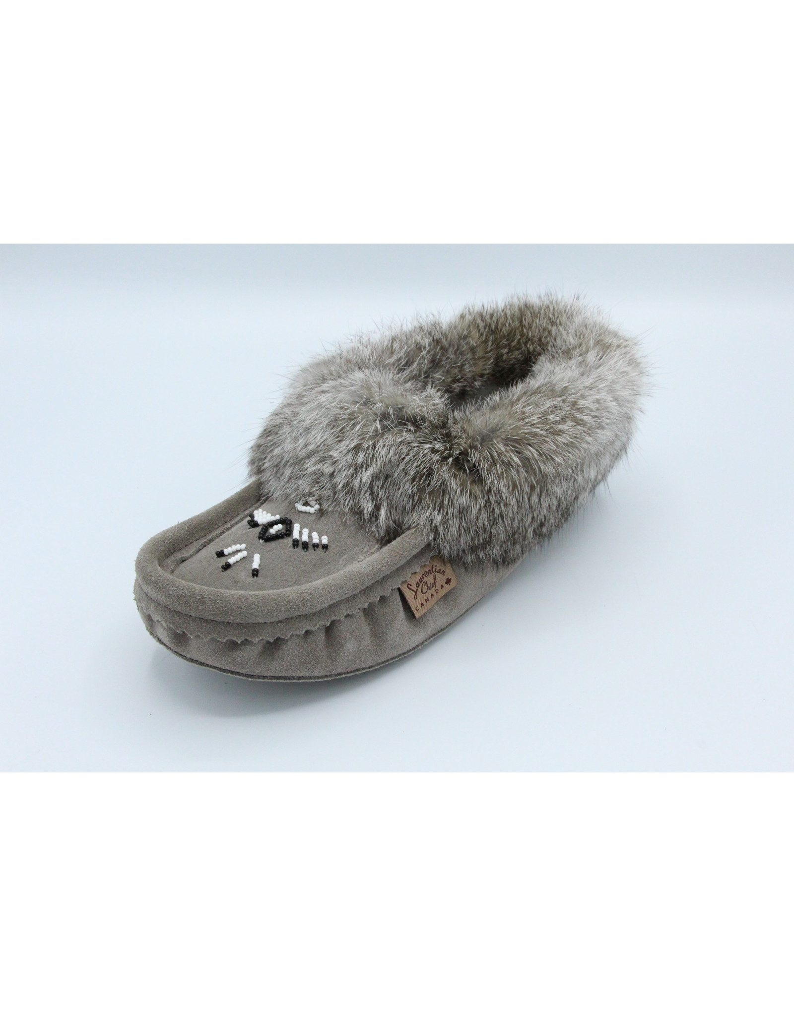 Charcoal Suede Fur Slipper Moccasin - 660L
