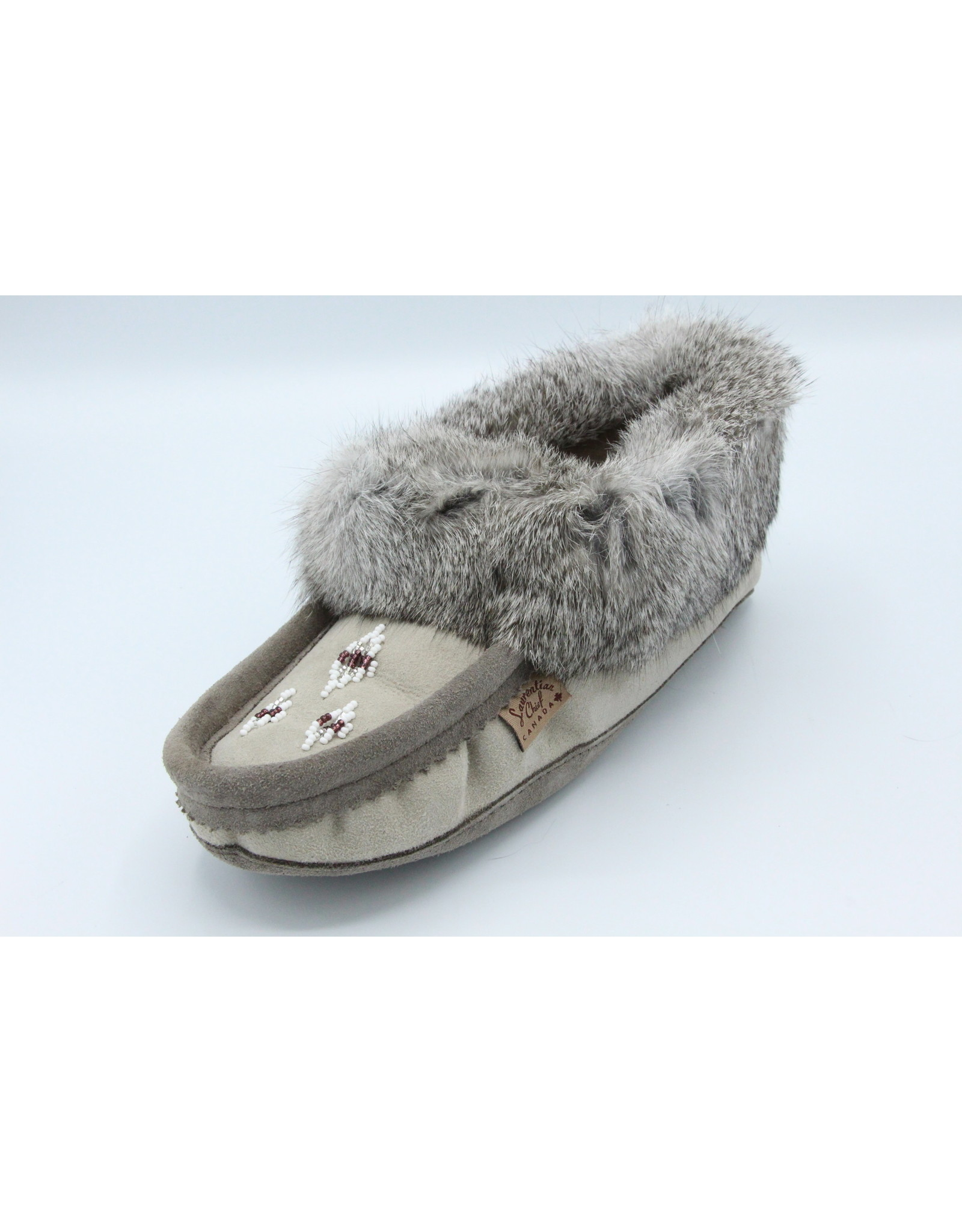 Grey Wool and Fur Moccasin Slipper