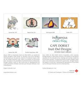 Boîte de 12 Cartes Dessins Inuit Hiboux - Boîte 104