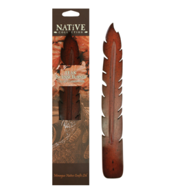 Teak Feather Incense Holder