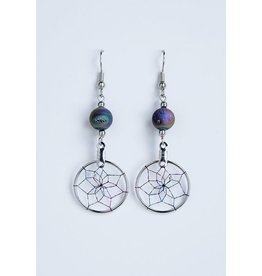 Dreamcatcher Earrings with Rainbow Druzy - DC1007