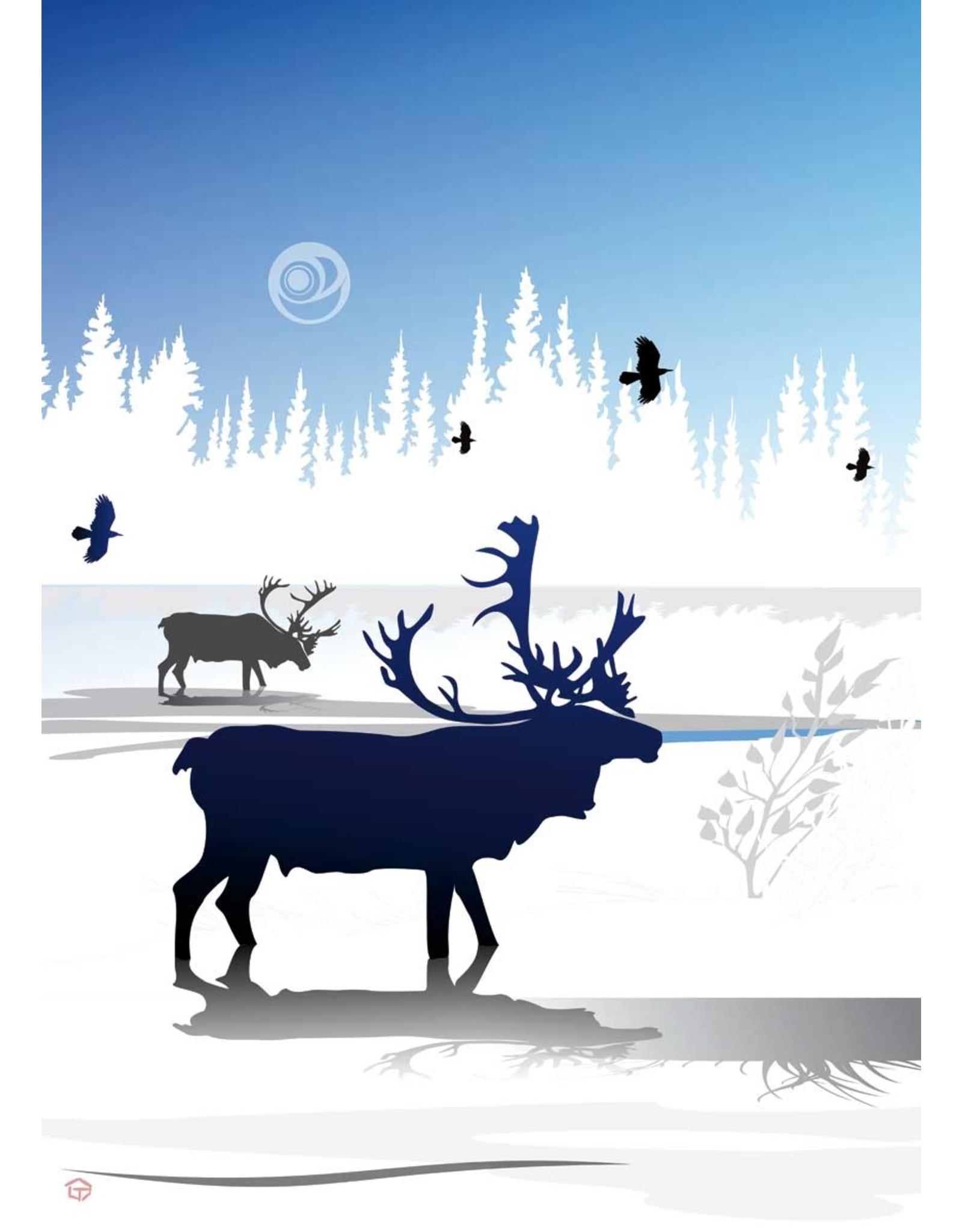 Caribou Winter par Mark Preston Carte