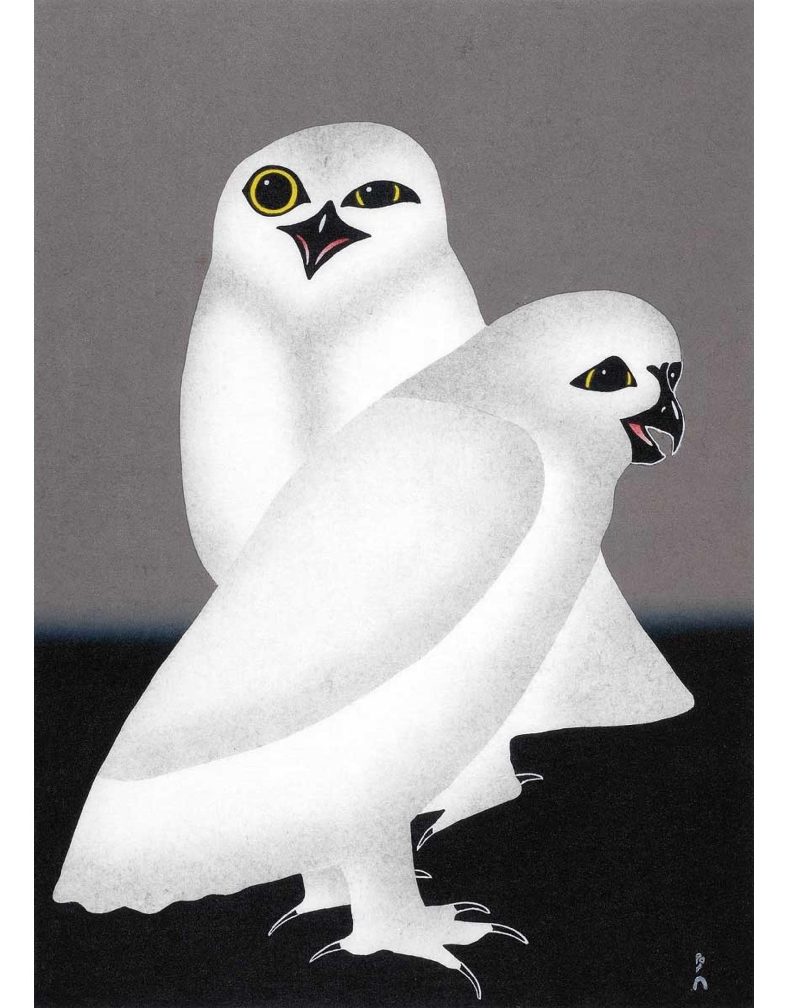 Unnuarsiut Uppiik (Night Owls) by Kananginak Pootoogook Card