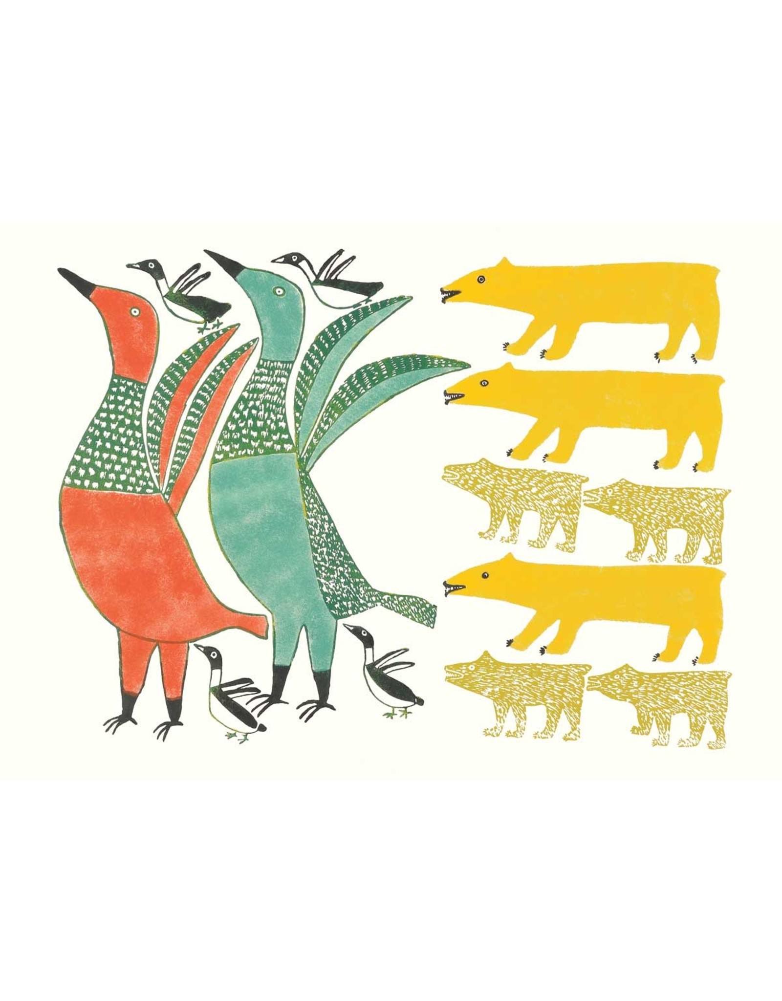 Birds Frightened by Bear by Anna Kingwatsiak Card