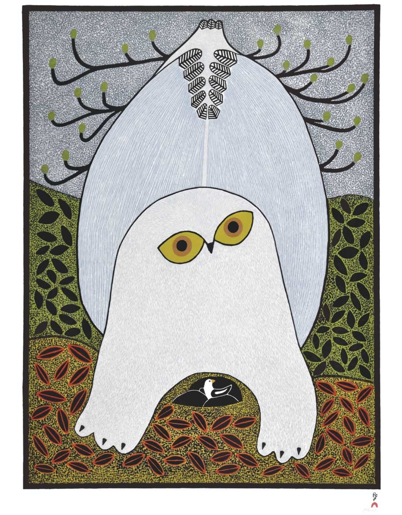 Opulent Owl by Ningeokuluk Teevee Matted