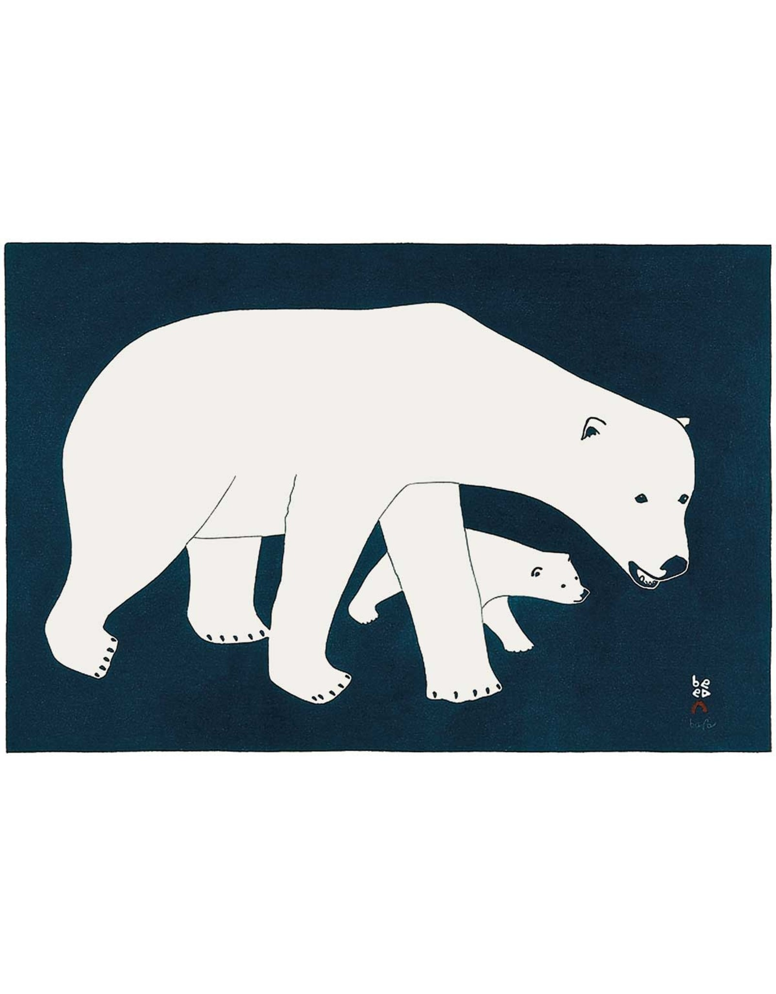 Bears on Blue by Kananginak Pootoogok Matted