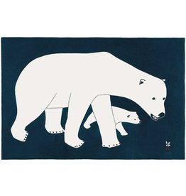 Bears on Blue by Kananginak Pootoogok Matted