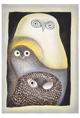 Owls in Moonlight par Ningeokuluk Teevee  Encadrée