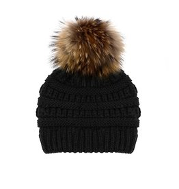 Toddler Knitted Beanie with Finn Raccoon Fur Pom