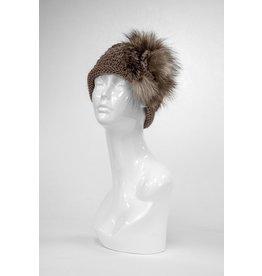Knit Headband with Fox Fur Detail